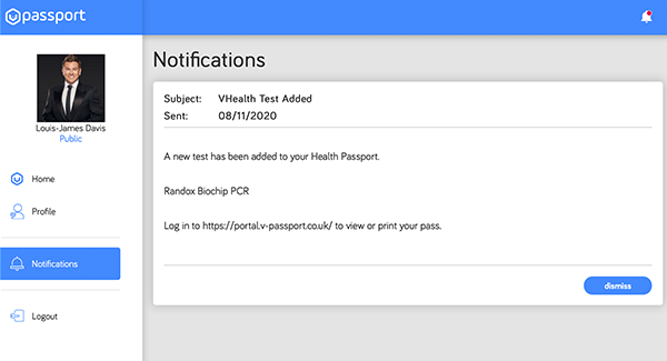 V-Health Passport™ - Notifications